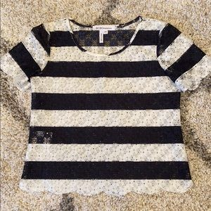BCBGeneration navy/ white lace top